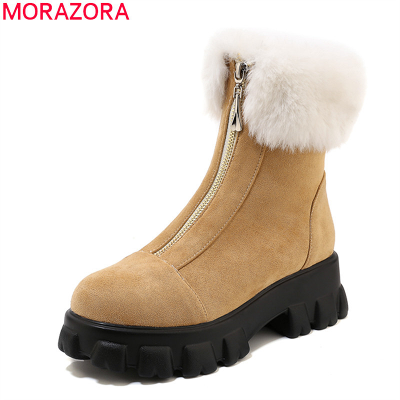 MORAZORA 2020 Big size 33-46 winter simple ankle boots comfortable flock leather zip solid color keep warm women boots