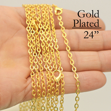 100 - 24 Inch Gold Chain Necklace, Cable Necklace Chain, 60cm Link