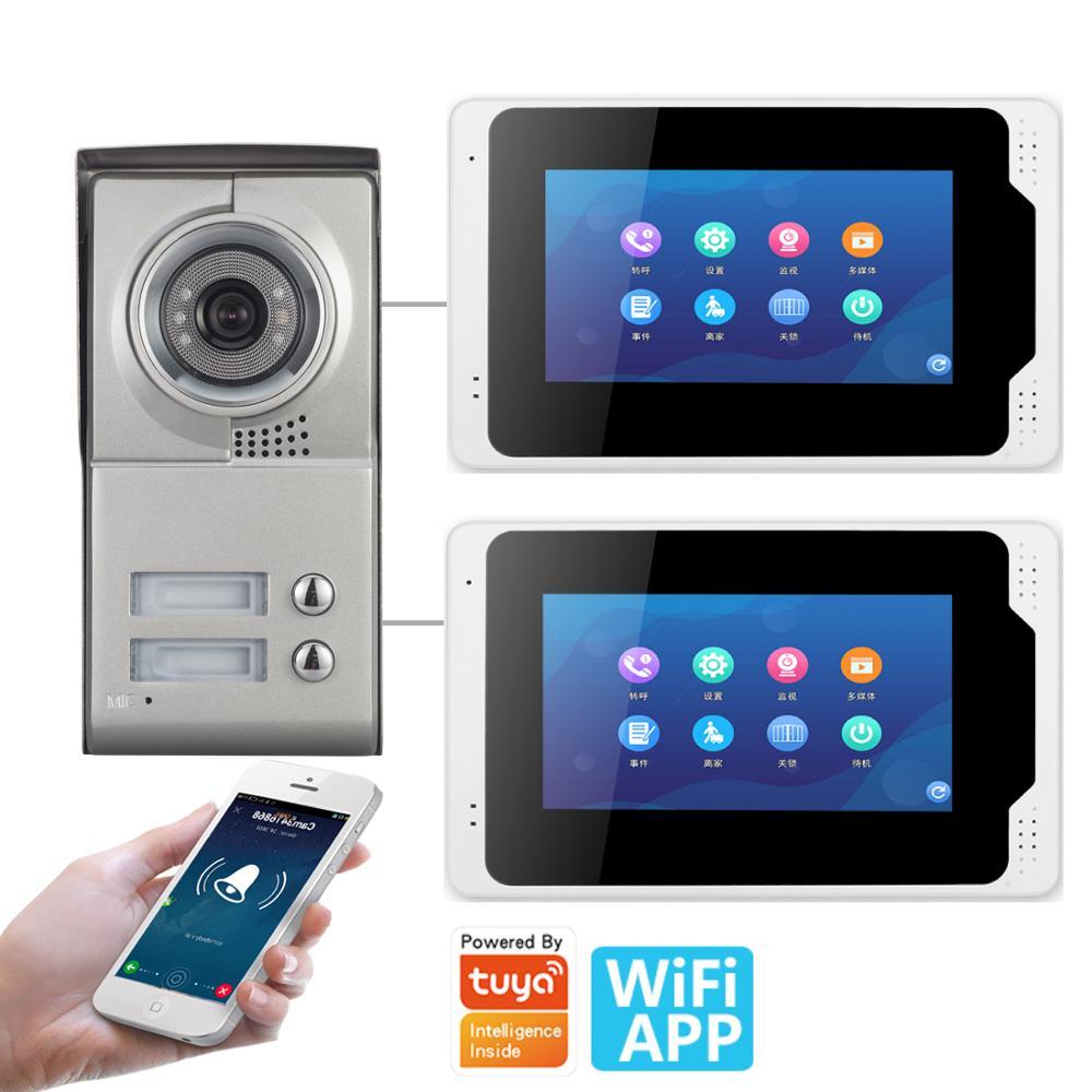 Tuya APP kontrolü 2 adet daire görüntülü interkom 7 inç 1080P monitör Wifi kablosuz görüntülü kapı telefonu kapı zili interkom kiti