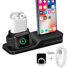 Henzarne 3 in 1 Charging Dock Holder For Iphone X 8 8p Silicone charging stand Station Apple watch Airpods