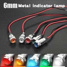 10 adet 6mm düz kafa LED Metal gösterge ışığı su geçirmez sinyal lambası 3V 5V 6V 12V 24V 220v tel ile kırmızı sarı mavi yeşil beyaz