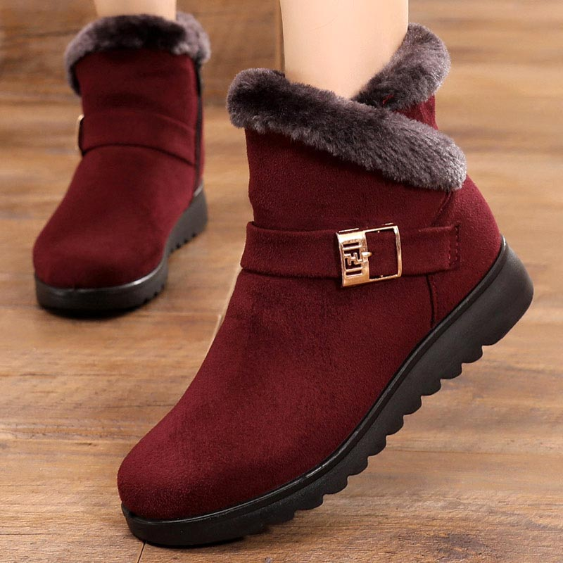 Winter Platform Shoes Women Sneakers 2019 Warm Plush Solid Flock Snow Boots Women Shoes Zipper Shoes Woman Winter Ankle Boots