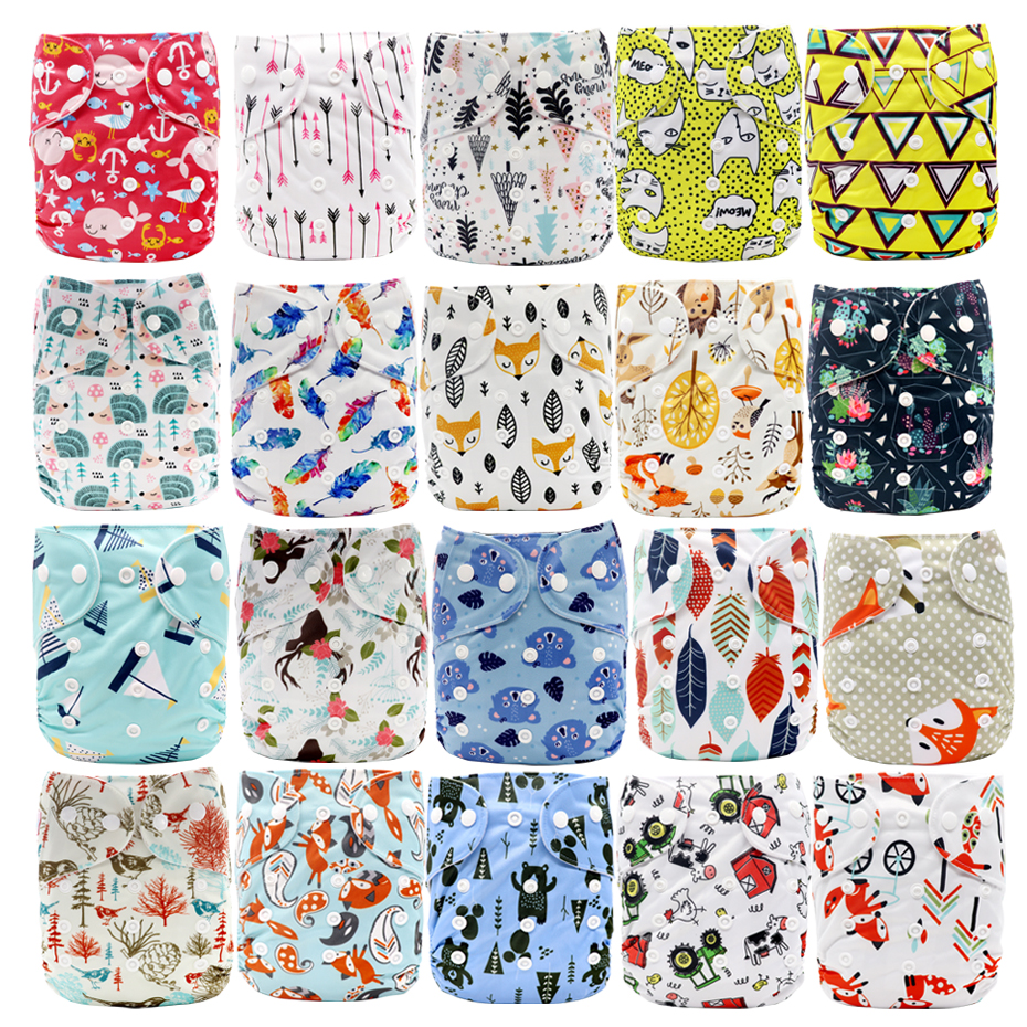 MABOJ Cloth Diapers Baby Washable Reusable Real Cloth Pocket Nappy Diaper Cover Wrap Suits Birth To Potty One Size Nappy Inserts