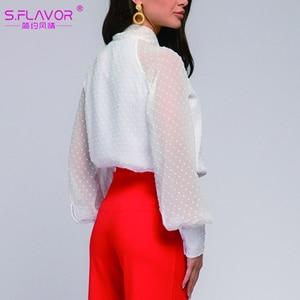 Image 5 - S.FLAVOR Fashion Women Casual Bow Tie Tops Ladies Chiffon Shirt Blouse Long Sleeve Ploka Dot Elegant Female Summer Clothes