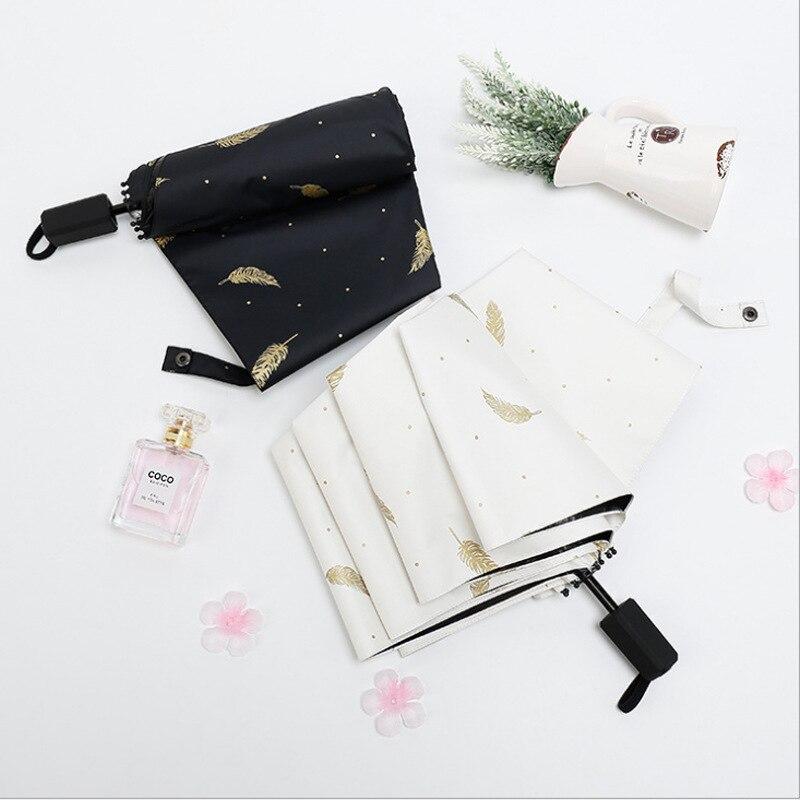 Three Fold Feather Vinyl Parasol Sun-resistant UV-Protection Parasol Dual Purpose Folding Umbrella Wholesale Customizable