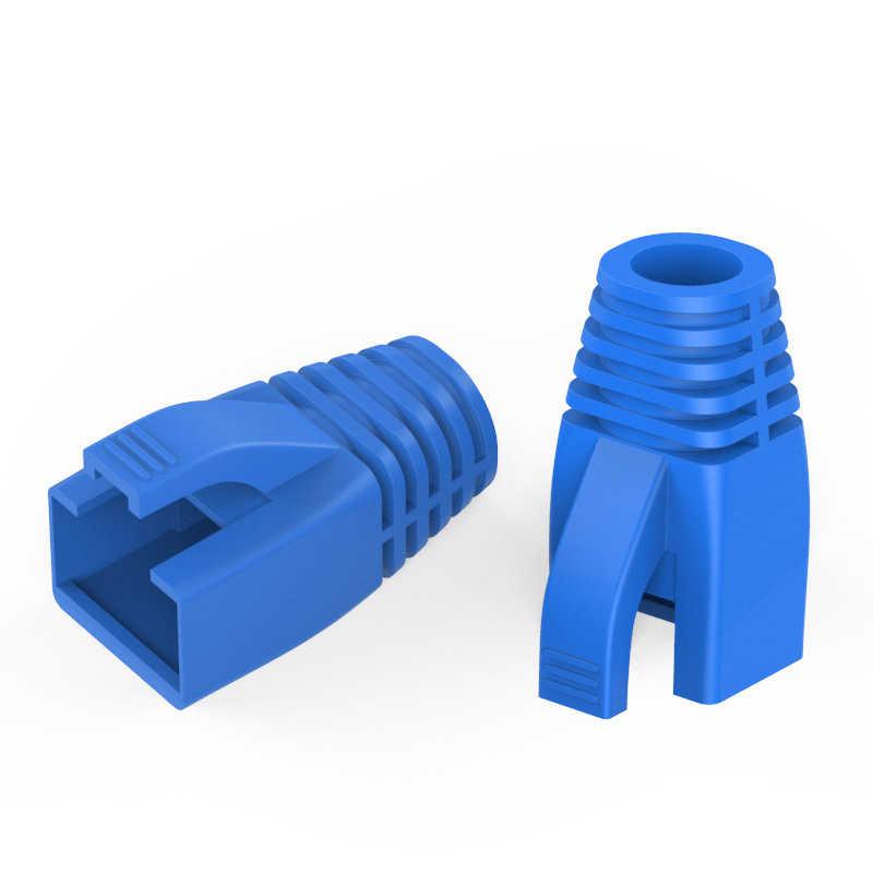 OULLX RJ45 Cat7 kapaklar Cat6a ağ Ethernet kablosu konektörü Cat 7 fiş koruyucu çok renkli çizmeler kılıf renk çalı OD 8.5mm