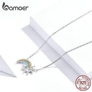 Image 4 - BAMOER colgante de plata de ley 925 con diseño de sol, joyería de boda de 45CM SCN366
