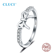CLUCI Cute Silver 925 Bowknot Women Fashion Ring Gift Jewelry 100% 925 Sterling Silver Zircon Bow Knot Rings manbu custom infinity knot ring with moonstone 925 sterling silver ring for women fashion jewelry anniversary gift free shipping