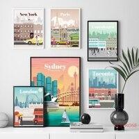 لندن نيويورك باريس إسبانيا مدينة خريطة الرسم على لوحات القماش الجدارية الشمال الملصقات و يطبع جدار صور لغرفة المعيشة ديكور المنزل