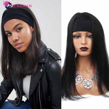 Silkswan peruki z prostymi włosami z pałąkiem na głowę 100 brazylijski chusta na głowę peruki z pałąkiem na głowę peruki z ludzkich włosów peruki dla kobiet peruki z włosów typu Remy tanie i dobre opinie silk swan CN (pochodzenie) Remy włosy Proste Brazylijski włosy Średnia wielkość Ciemniejszy kolor tylko