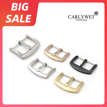 цена на CARLYWET 18 20 22 24mm New Top Quality 316L Stainless Steel Brushed Matt 3mm Tang Tongue  Pin Buckle For Rolex Omega Watch Strap