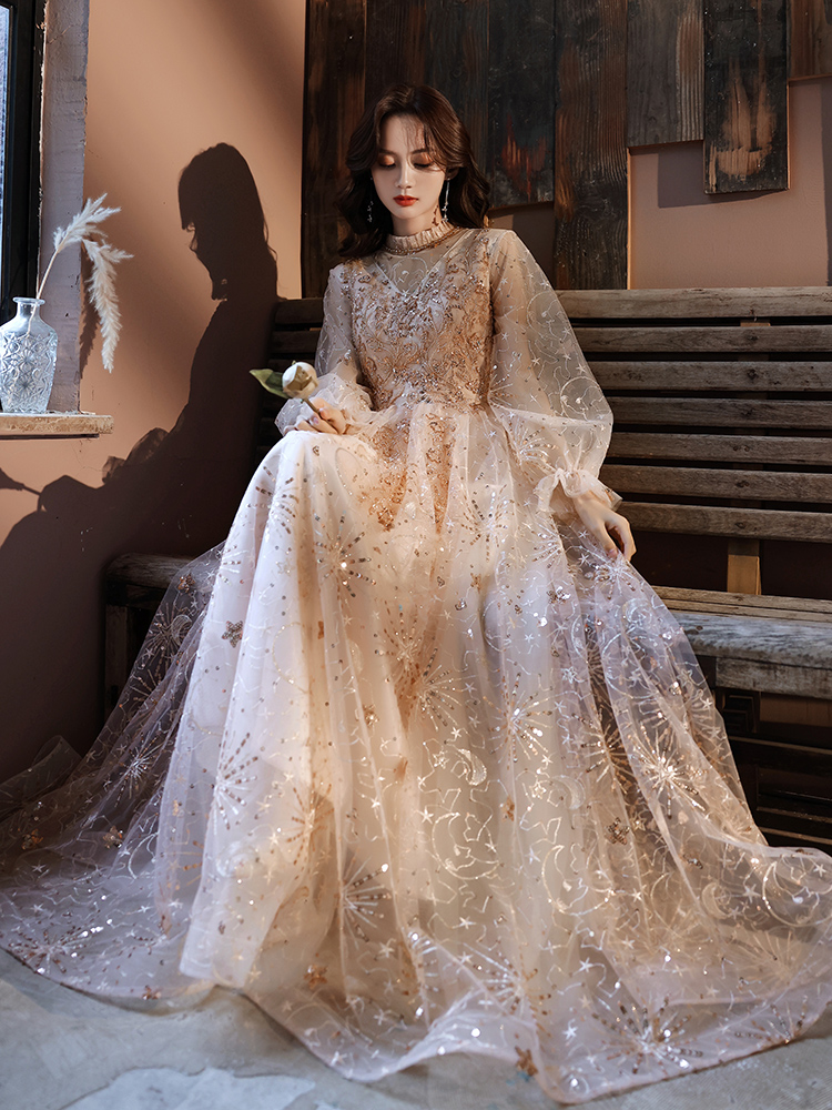 Gorgeous Champagne High Collar Long Sleeve Brideamaid Dress Beading Sequins A Line Formal Evening Dress For Wedding Party