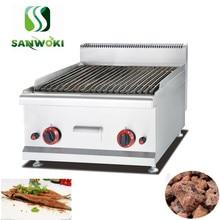 Máquina de churrasco sem fumo lpg, máquina de gás lava para churrasco grelha, cordeiro, pedra vulcânica