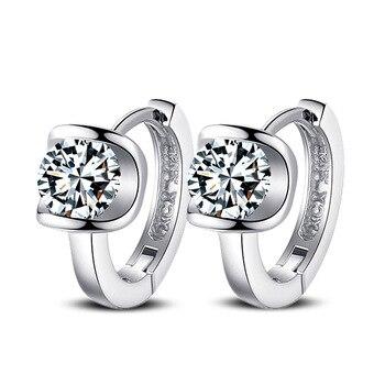 100%  silver color jewelry Buckle earrings high-grade zircon Girl Pendientes Plata Brincos Button Earrings for women 1