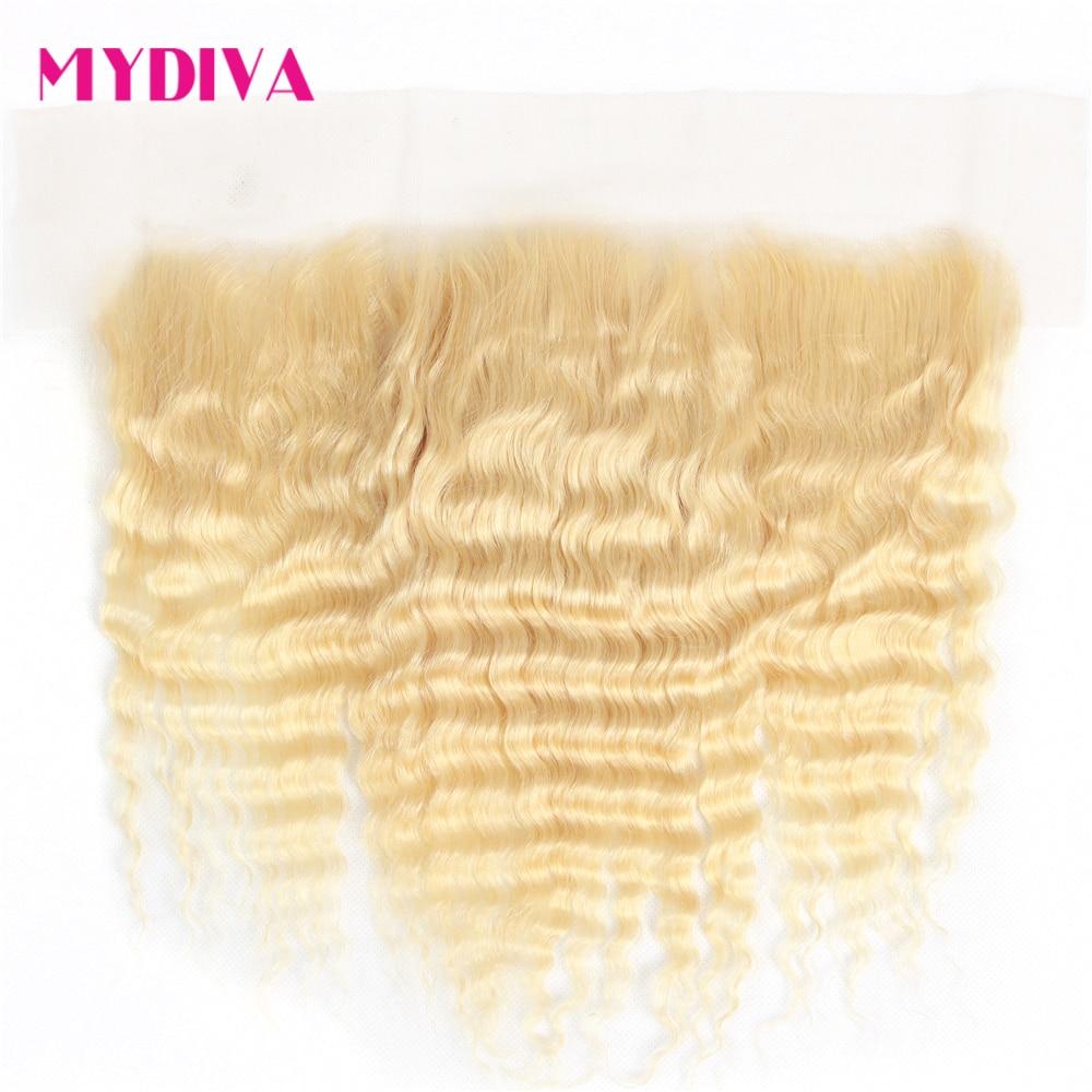 Perruque Lace Frontal Closure 613 cheveux naturels-Mydiva, cheveux très ondulés, 13x4, oreille à oreille, Lace Frontal Closure Transparent 613