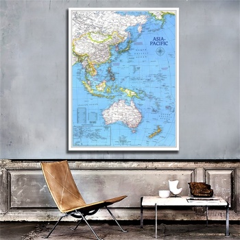 5x7ft HD Printed Non-woven Spray Painting Unframed Map of Asia Pacific For Home Art Crafts Wall Decor 5x7ft fantasy blue