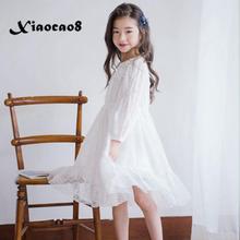 Платье белое кружевное платье с длинными рукавами для девочек; Милое платье принцессы с цветочным рисунком; Детское платье; Сезон весна лето; Детская праздничная одежда