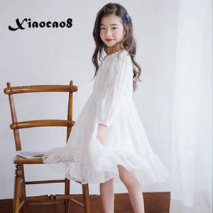 Image 1 - Menina vestido de manga longa branco vestidos de renda para meninas floral bonito vestido de princesa crianças primavera verão vestido de festa roupas