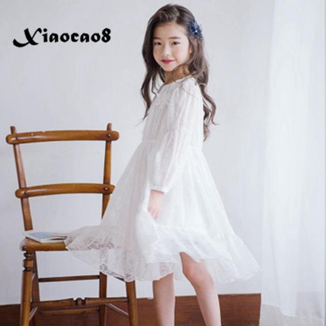 Menina vestido de manga longa branco vestidos de renda para meninas floral bonito vestido de princesa crianças primavera verão vestido de festa roupas