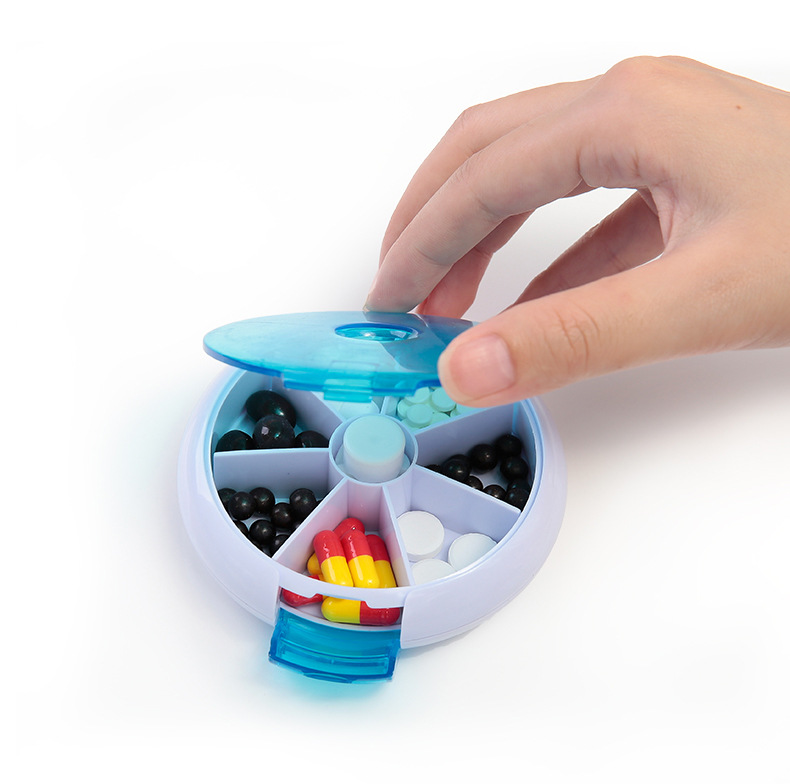 Image 3 - Weekly Rotating Pill Box Travel Pill Case Splitter Pill Organizer Medicine Box 7 Day Pill Cutter Tablet Container-in Pill Cases & Splitters from Beauty & Health