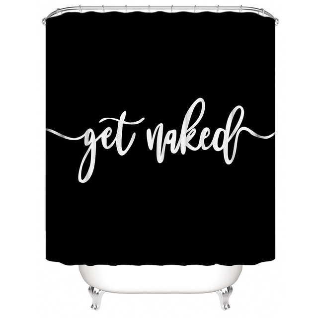 """""""Get Naked"""" Bathroom Mat Sets with Shower Curtain Letter Print 4 Piece Set Non-slip Rug Toilet Cover Bath Mat Pad 3"""
