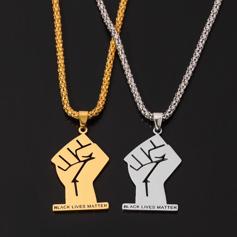 Черные африканские ожерелья для женщин и мужчин, золотые ювелирные изделия из нержавеющей стали BLM Africa Fist