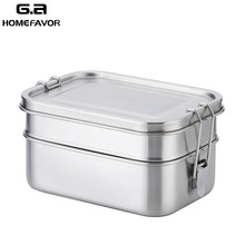 Lunch Bento Box 304 Stainless Steel Food Container Double Layer Large Fruit Cake Snack Box 1400ml Storage Box Bin Tableware(China)