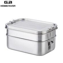 점심 도시락 상자 304 스테인레스 스틸 식품 용기 더블 레이어 대형 과일 케이크 스낵 상자 1400ml 보관 상자 빈 식기