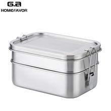 صندوق طعام بنتو 304 حاوية طعام من الفولاذ غير القابل للصدأ مزدوجة طبقة كبيرة الفاكهة كعكة اقفاص الوجبات الخفيفة 1400 مللي صندوق تخزين بن المائدة