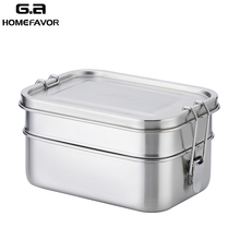 Lunch Bento Box 304 Stainless Steel Food Container Double Layer Large Fruit Cake Snack Box 1400ml Storage Box Bin Tableware