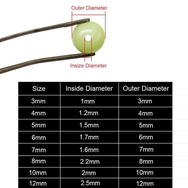 100-piezas 3mm-12mm cuentas suaves de pesca tapón negro/Resplandor redondo de goma señuelos aparejos de pesca accesorios pesca carpa