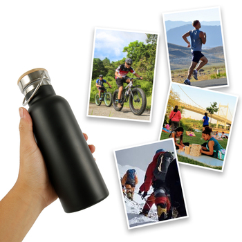 500/750/1000ML Portable Stainless Steel Water Bottle Bamboo Lid Sports Flasks Leak-proof Travel Cycling Hiking Camping Bottles 6