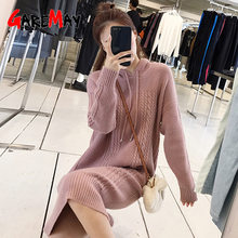Autumn Warm Twisted hooded Knitted Dress for Women Knitting Sweater Dresses Female 2019 Winter Casual women's Sweater Dress(China)