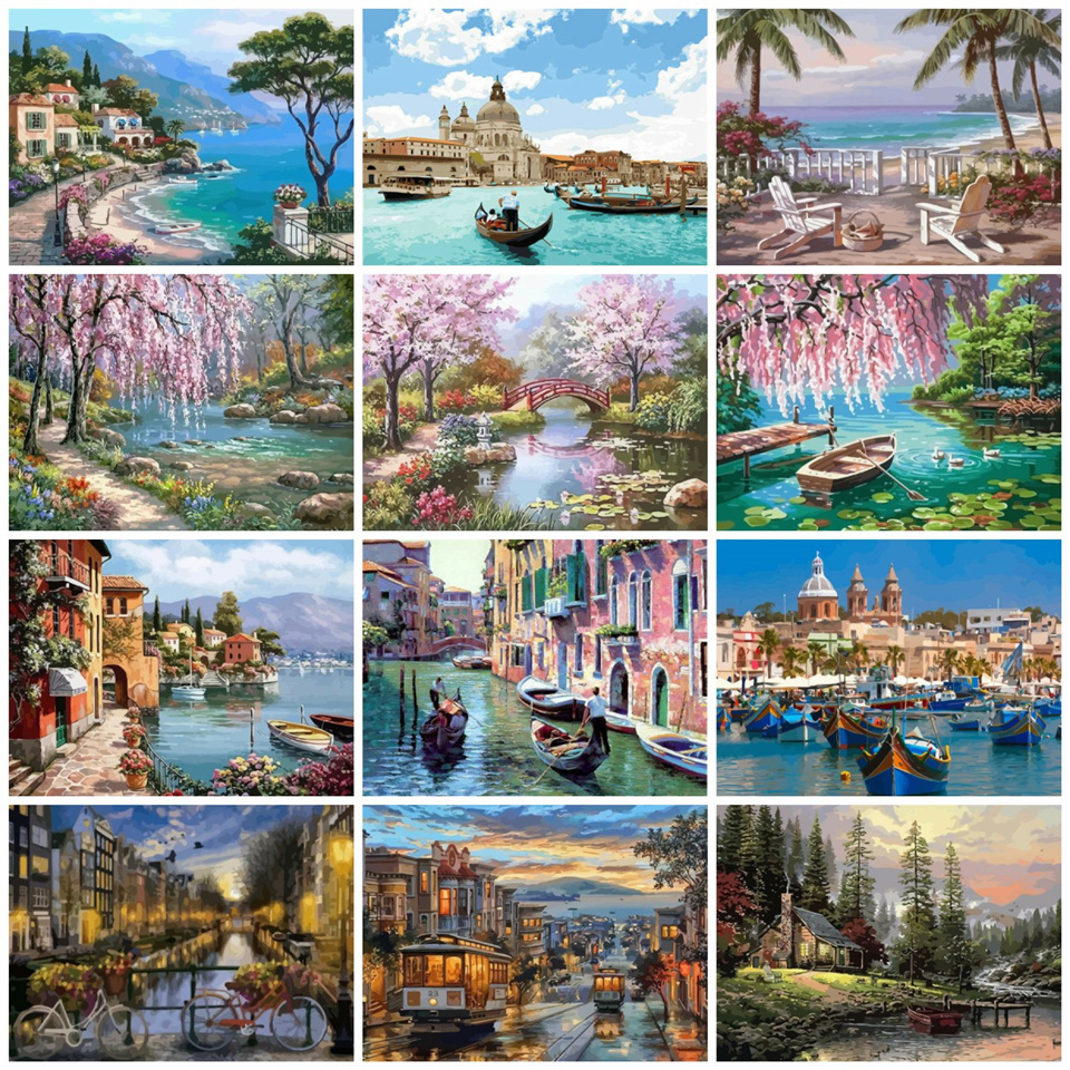 AZQSD Scenery Paints By Number Canvas Painting Kits 50x40cm River Oil Painting By Numbers For Adults DIY Gift Home Decor(China)