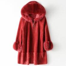 Пальто из черного меха красное Модное Новое худи натурального