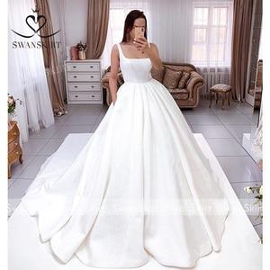 Image 5 - SWANSKIRT Shiny Lace Satin Abito Da Sposa 2020 Classic Piazza Colletto Senza Maniche A Line Principessa Vestido de novia I302 Abito Da Sposa
