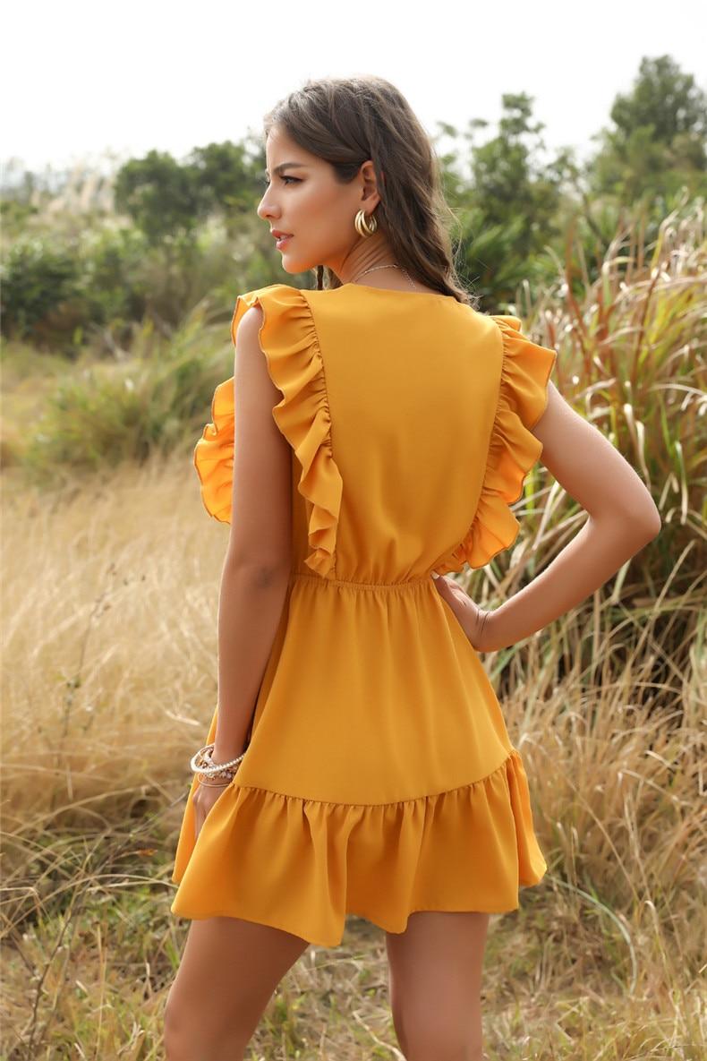 Ruffle Off Shoulder High Waist V Neck Casual Boho Beach Yellow Dress 34