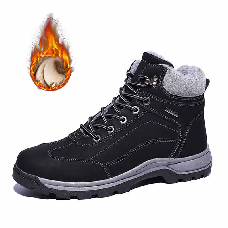 608ee034 warm plush winter boots men shoes lace-up outdoor anti-slip Hiking men  boots casual shoes high top plus size zapatos de hombre