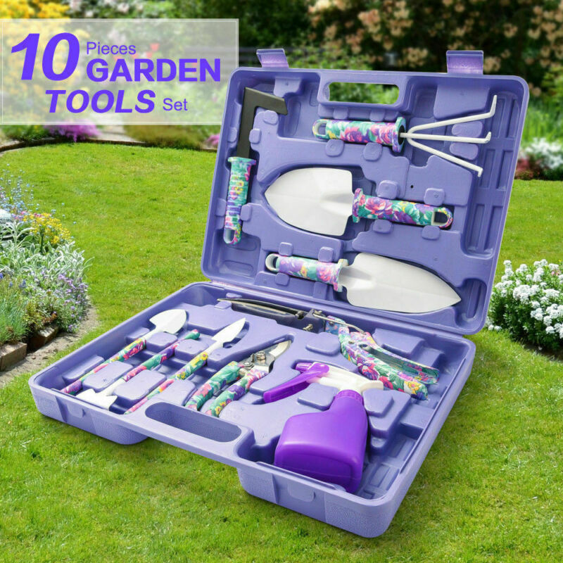 5 Pieces Hand Tools With Purple Floral Print With Carrying Case Garden Tool Set