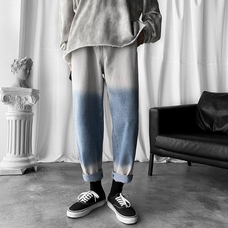 Осенние джинсы в стиле хип-хоп, мужские тонкие модные градиентные повседневные джинсы, мужские уличные прямые джинсовые брюки, мужские M-2XL