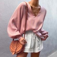 Осень 2020 Повседневная Свободная розовая рубашка Женская Милая