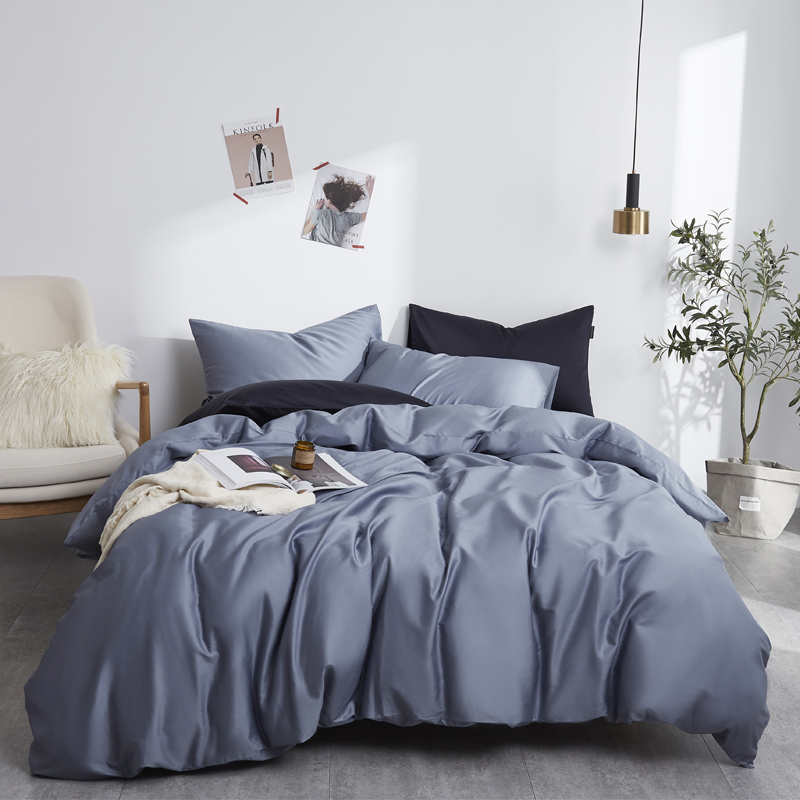 Silky Soft Pure Egyptian Cotton Solid Color Bedding Set Family Size Duvet Cover Set Bed Sheet Pillowcases Twin Queen King Size
