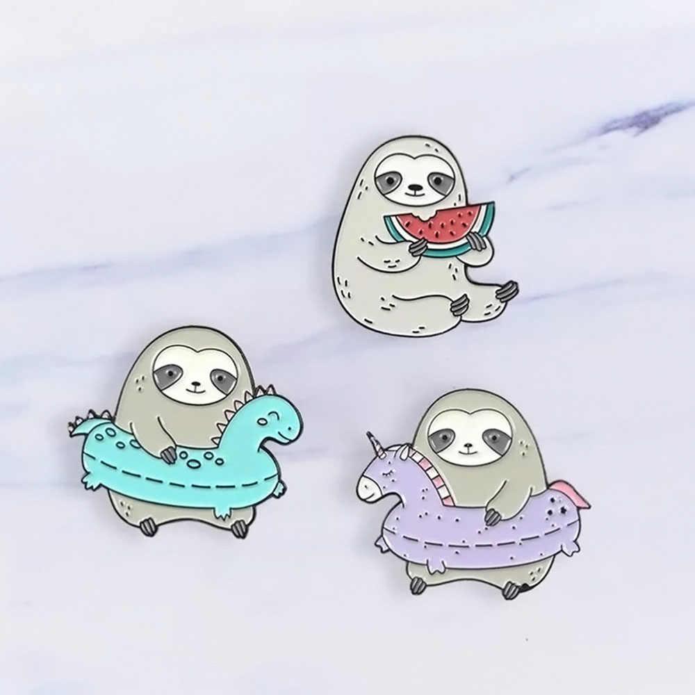 귀여운 재미 있은 나태 에나멜 핀 게으른 동물 만화 나태에 나 멜 핀 배지 브로치 여성 데님 셔츠 가방 귀여운 쥬얼리