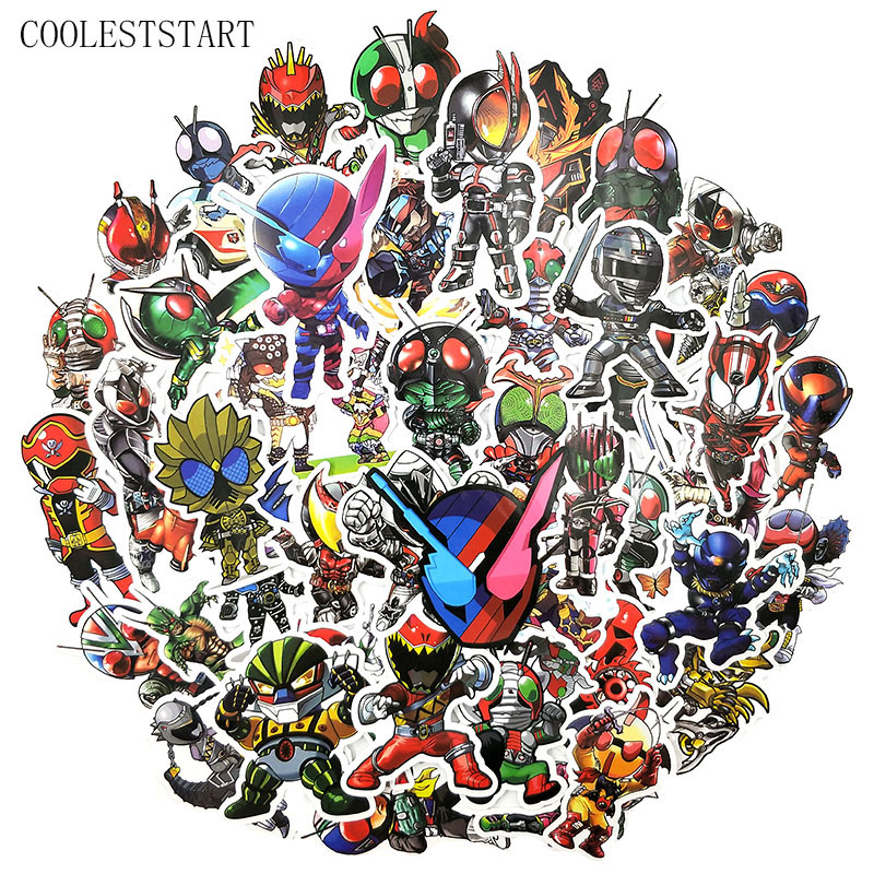 50 Pcs/set Classic Anime Kamen Rider Stickers For Refrigerator Motorcycle Phone Skateboards Laptop Luggage Bicycle Toys Stickers