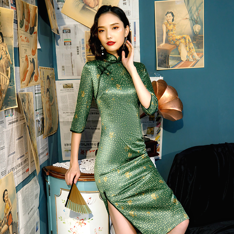 Sheng Coco Green Yellow Flowers Cheongsam Long Sleeve Knee-length Chipao Daily Casual Dresses Ladies Chinese Traditional Dress
