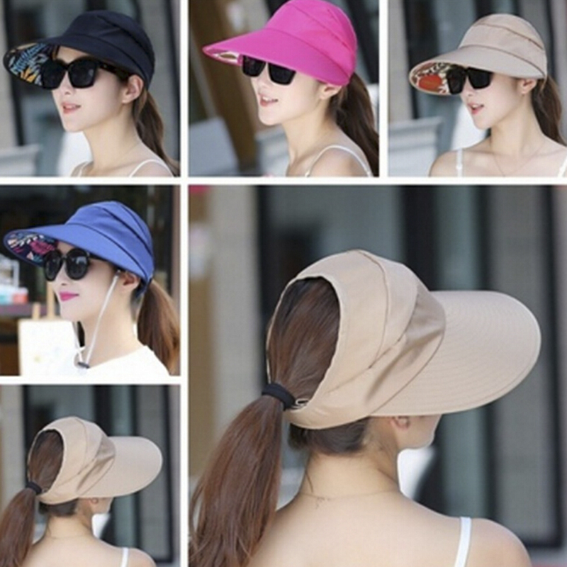 Folding Sun Protection Cap Ladies Girl Holiday UV Protection Sun Hat Beach Packable Visor Hat Women Summer Sun Hat Wide Brim