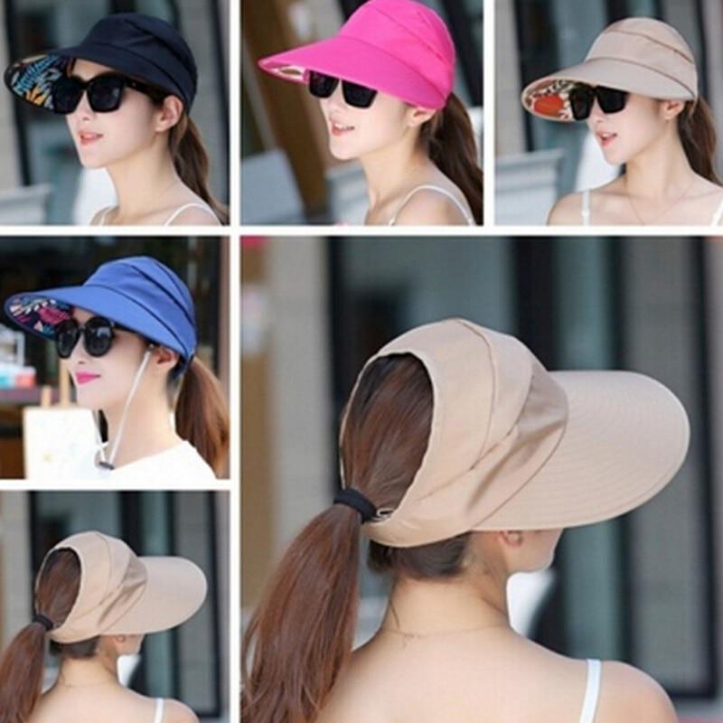 Plegable gorro de protección solar señoras chica vacaciones UV sombrero de protección solar playa Packable Visor sombrero mujer verano sol sombrero ala ancha