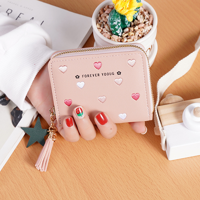New Arrival Wallet Short Women Wallets Zipper Purse Solid Color Panelled Wallets Trendy Coin Purse Card Holder Leather.