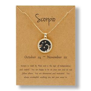 Vintage Taurus Aries Virgo White Black Resin Daytime Night Round Coin Pendant Necklaces 12 Constellation Zodiac Necklace Jewelry
