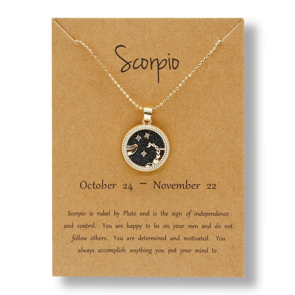 Vintage Taurus Aries Virgo White Black Resin Daytime Night Round Coin Pendant Necklaces 12 Constellation Zodiac Necklace Jewelry(China)